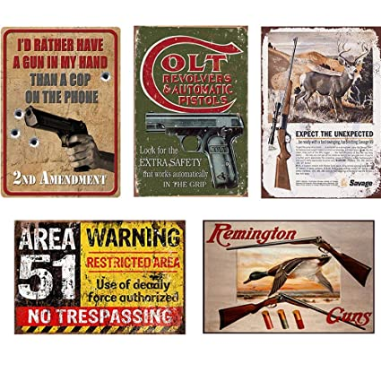 FlowerBeads Metal Gun Tin Signs Metal Box Sign Yard House Home Decor Garage  Shop Office Man Cave Decor Poster - 5PCS 20X30Cm