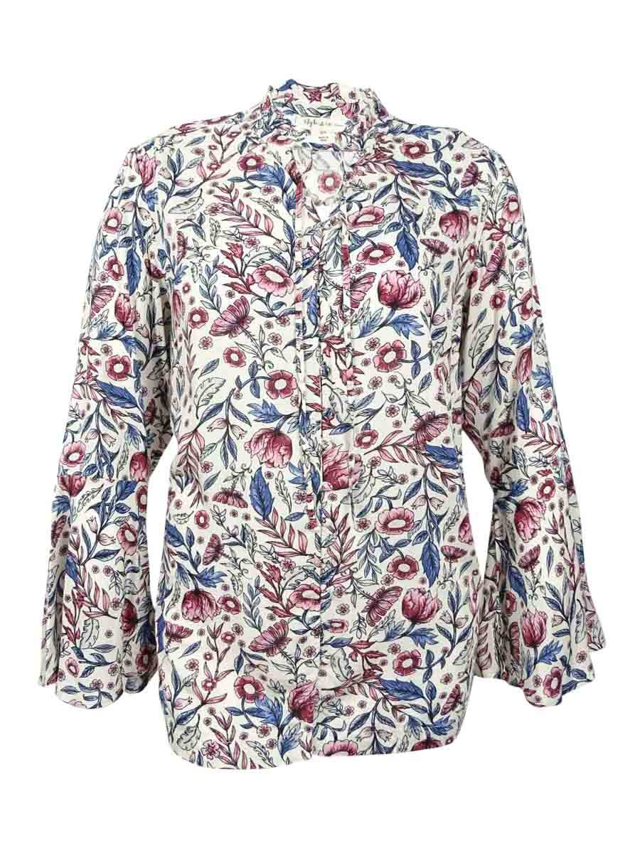 Style & Co.. Womens Plus Woven Floral Print Button-Down Top Ivory 2X