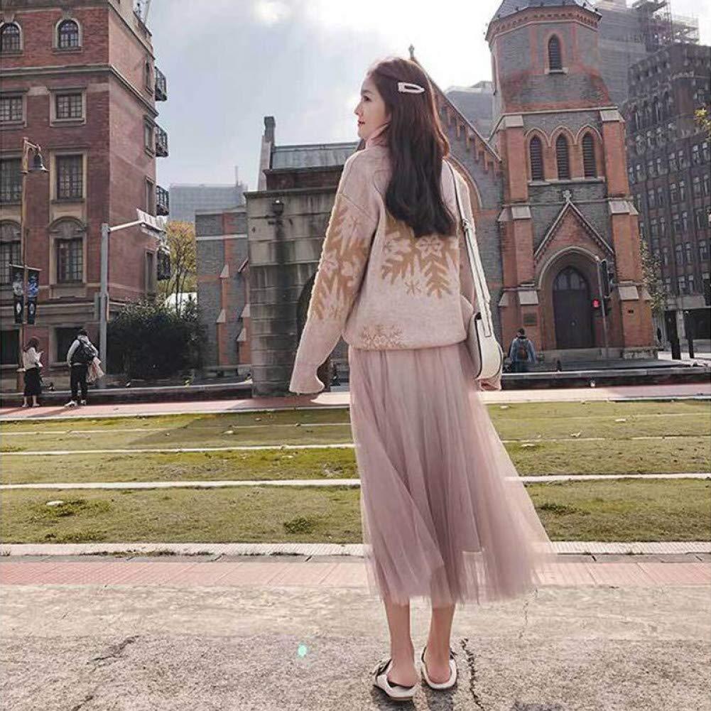 DAHDXD Falda Larga de Tul Mujer Verano Moda Coreana Brillante ...