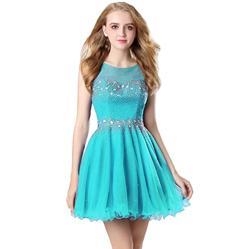 Sarahbridal Women A-line Short Prom Dress with Tulle Sheer Neck Strapless Party Dresses for