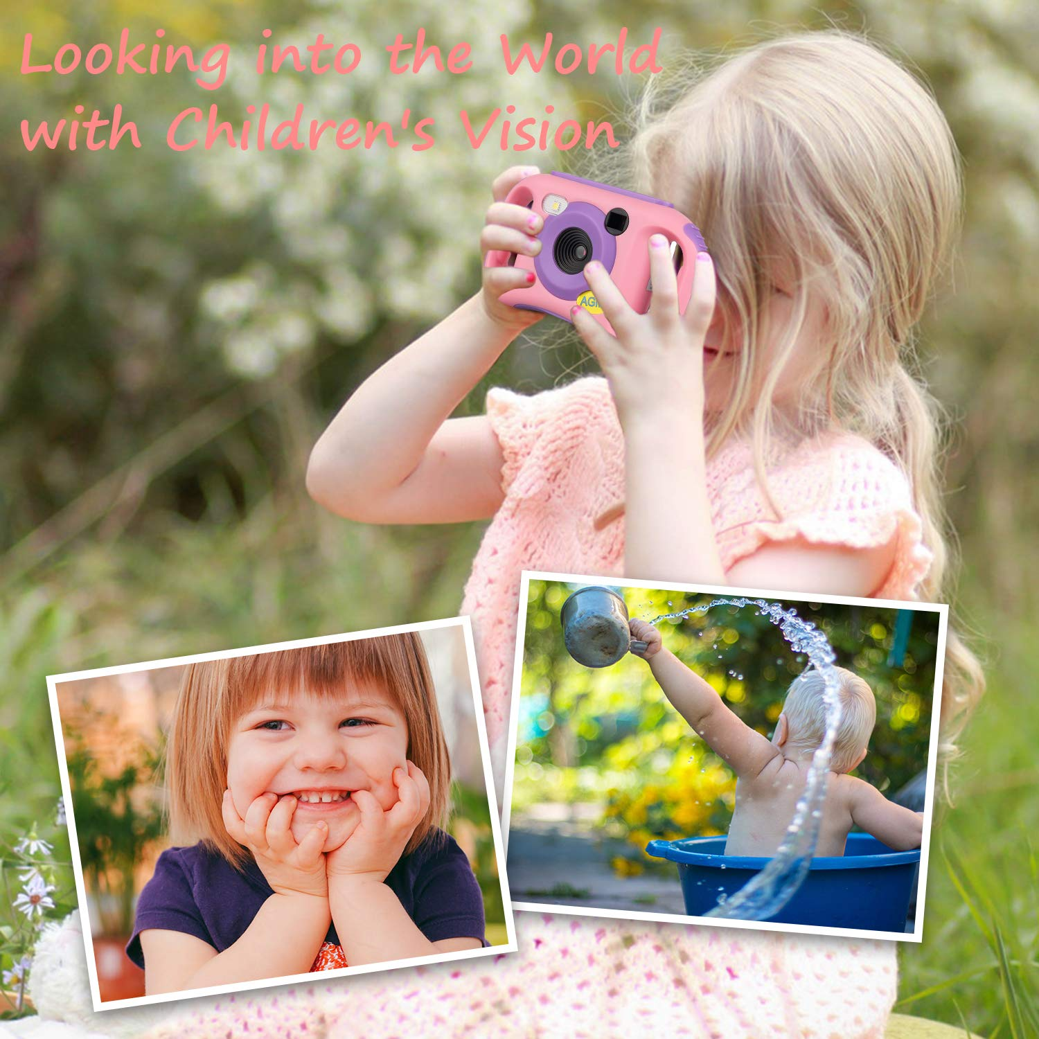 AGM Kids Camera for Girls & Boys, 1.77Inch Children Video Recorder Toddler Digital Camera,Creative Birthday Children's Day Gifts (Pink) by AGM (Image #4)
