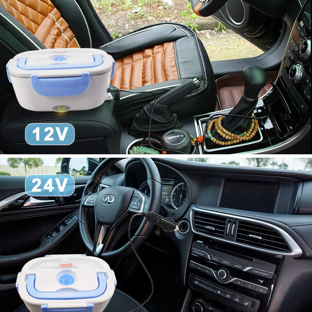 AUTOPkio Fiambrera eléctrica Comida térmico 12V 24V 220V 40W, 1.5L Lunch Box Fiambreras bento Uso en Coche eléctrica con Bandeja extraíble Acero ...