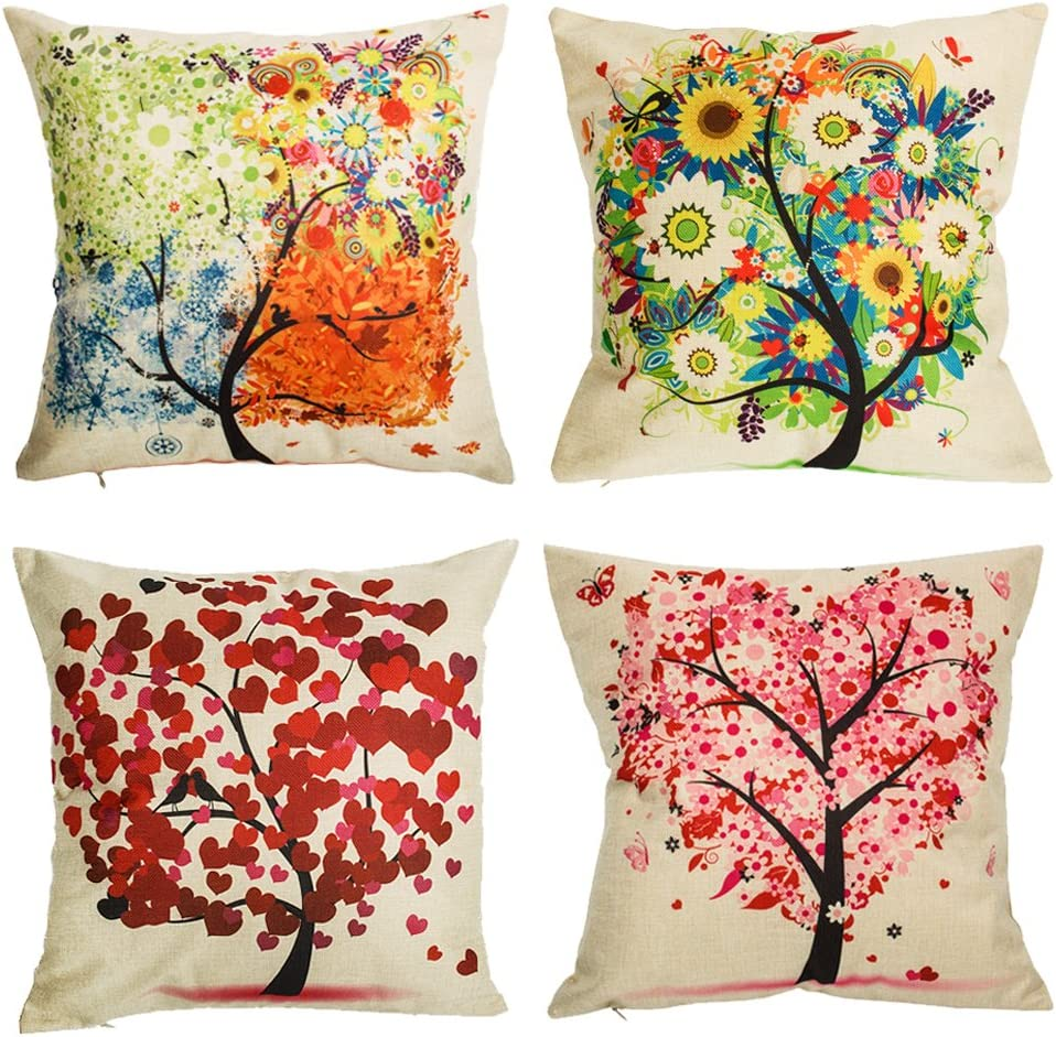laime Under The Tree Throw Pillow Covers Decorative Pillowcases 18x18inch (4 Pieces Set)