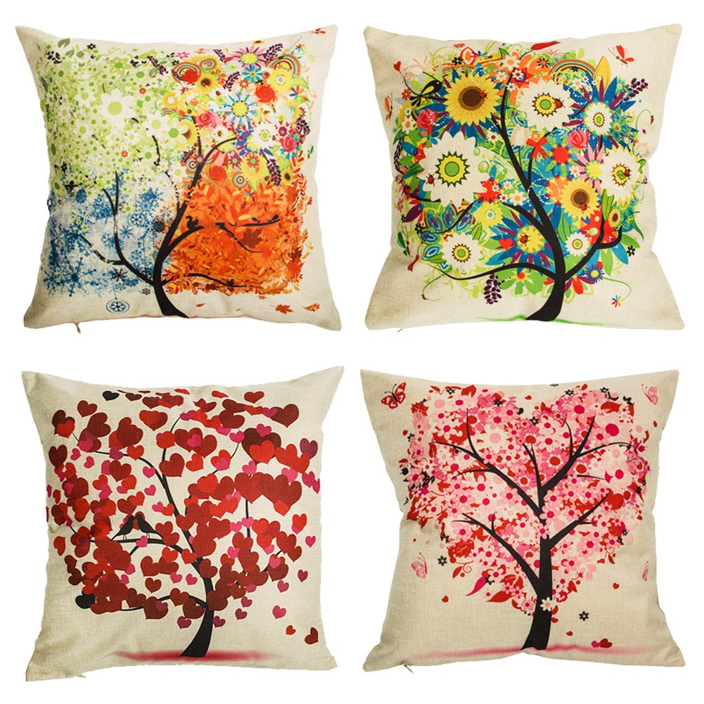 Under the Tree Throw Pillow Covers Decorative Pillowcases 18x18inch (4 pieces set)