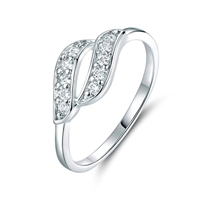 3a8807879 MSPV Unique Design Female Finger Rings White Gold Color Clear Zircon Women  Fashion Ring Size 5