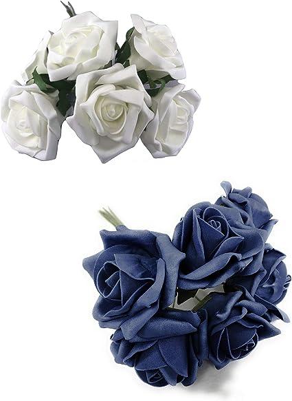 INERRA Rosas Artificiales – 2 Colores x 6 Cabezas por Ramo ...