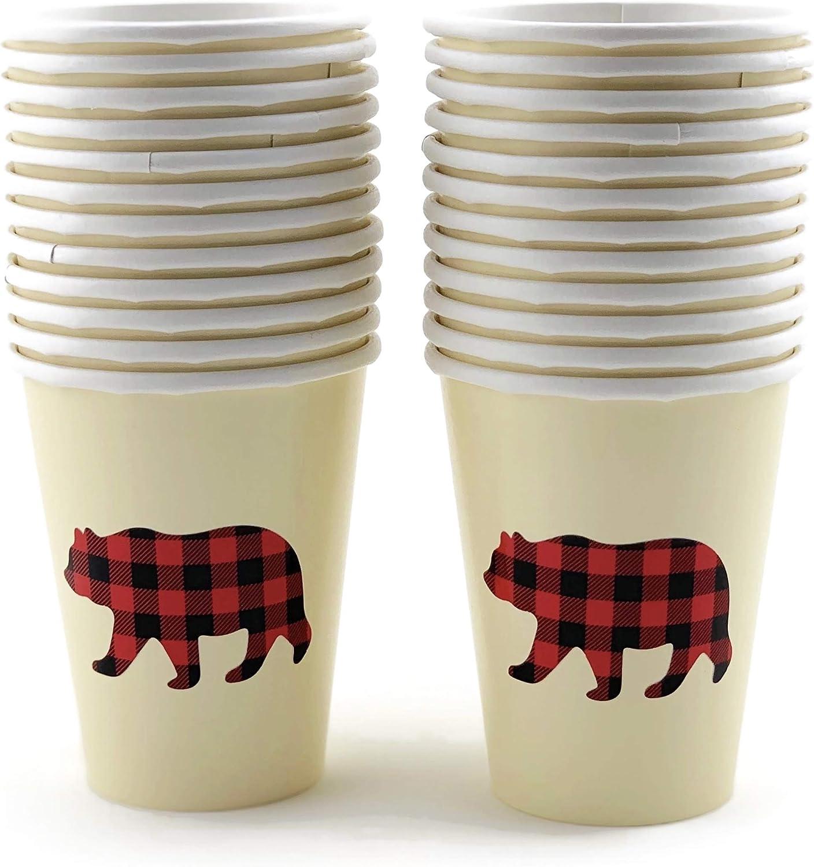 Buffalo Plaid Bear Baby Shower Lumberjack First Birthday Cups (16 Set)