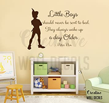 Amazon.com: Vinyl Wall Decal Sticker Peter Pan Quote Little Boys ...