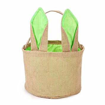 Amazon easter egg basket for kids bunny burlap bag to carry easter egg basket for kids bunny burlap bag to carry eggs candy and gifts green negle Gallery