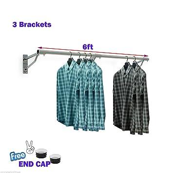 Perchero para colgar en la pared, ideal para colgar ropa, de 91,44 cm a 304 cm, para tiendas y hogar, 6ft x 25mm TUBE & 3 BRACKETS