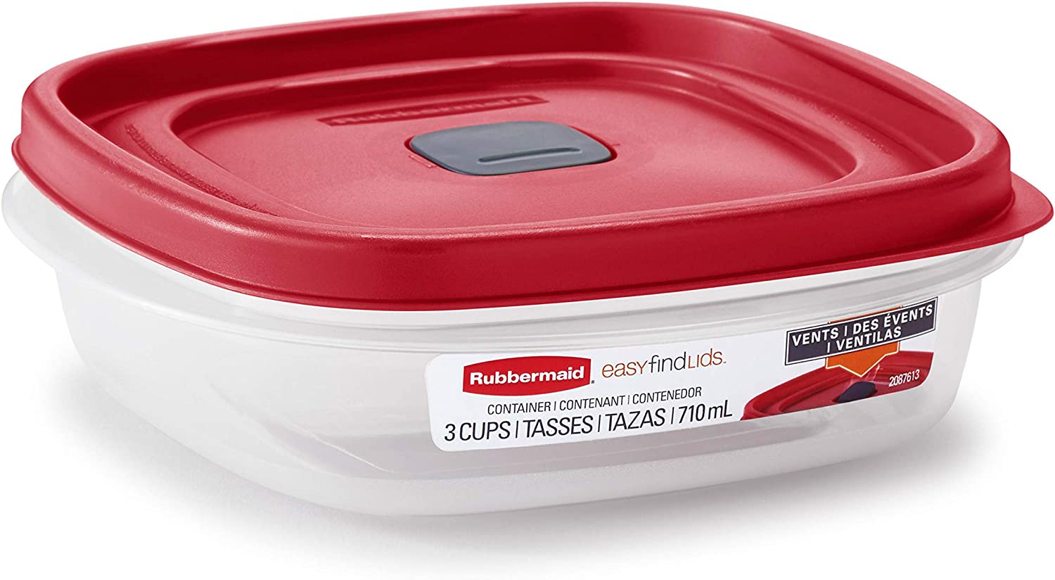 Rubbermaid Easy Find Lids 3-Cup Food Storage and Organization Container, Racer Red