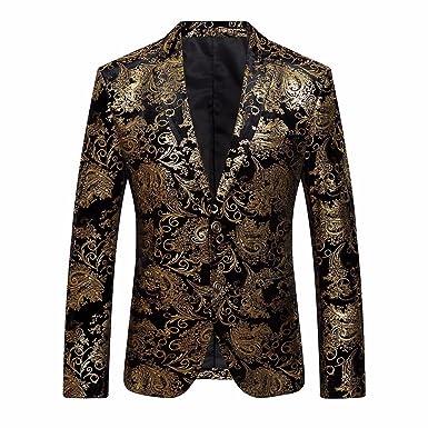 Longra-Uomo Giacca Elegante Vestito da Uomo Slim Fit Cappotto Giacca Blazer  in Paillettes Uomo f43f1907e7d
