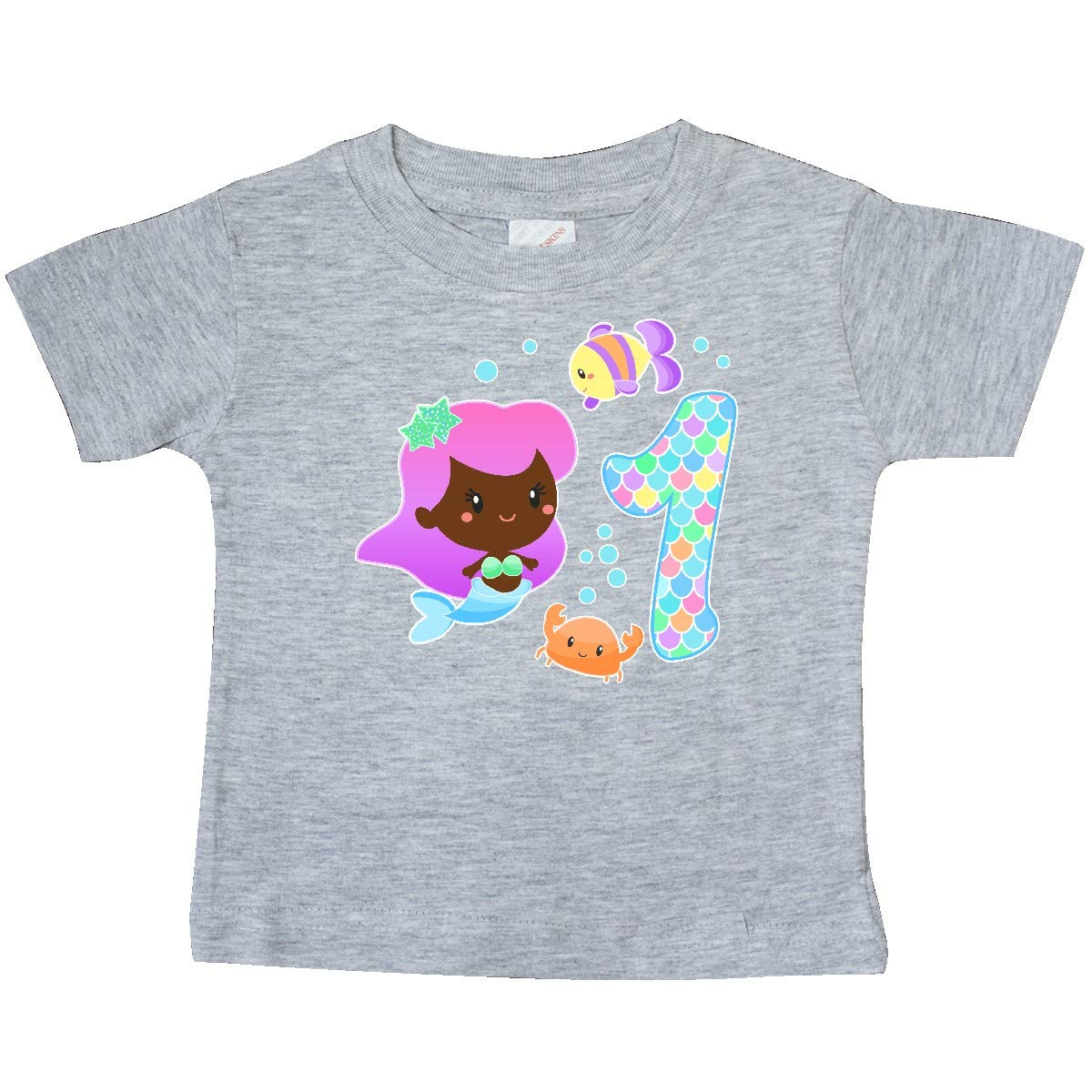inktastic First Birthday Mermaid with Fish and Crab Baby T-Shirt