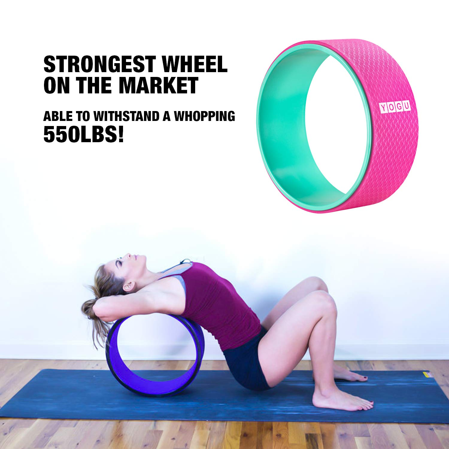 YOGU Yoga Wheel for Stretching, Improve Yoga, Stretching, Reduce Back Pain (Pink)