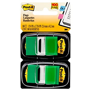 Post-it Standard Page Flags in Dispenser1in Wide, Green 100 Flags, 680-GN2