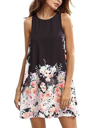 Floerns Women\'s Loose Floral Tank Dress Summer Sleeveless Dresses ...