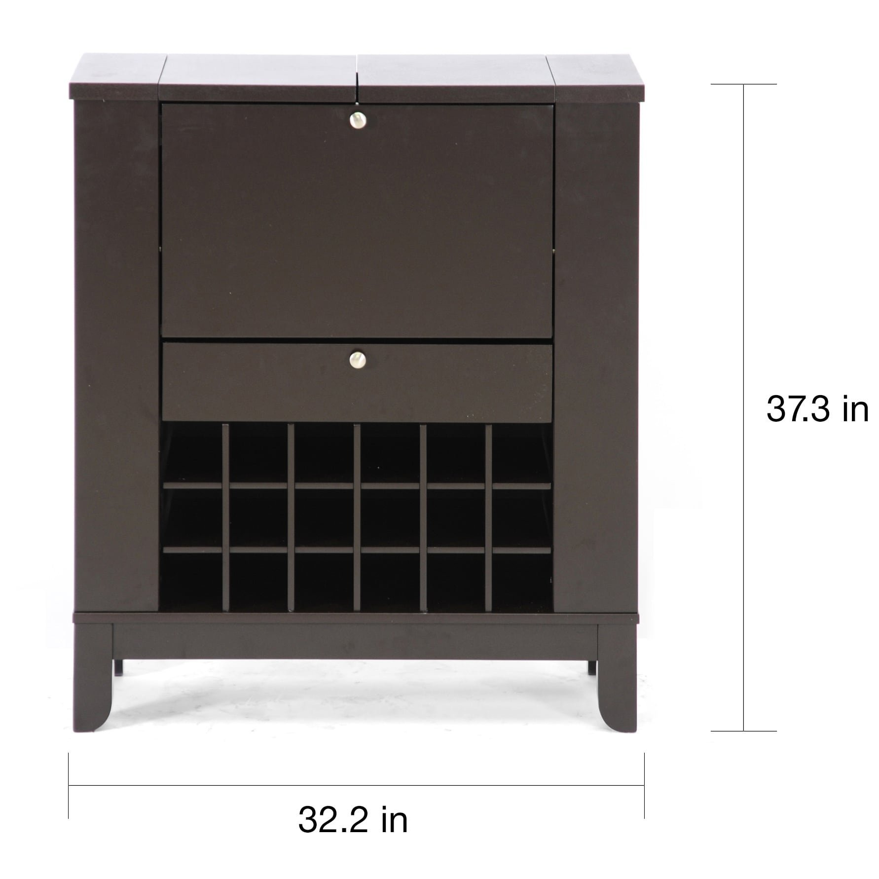 Contemporary Bar Cabinet, Exposed Wine Rack on Bottom and Each Side, Flip-Top Panels, Large Storage Compartment with Top Leaf Door, Silver Drawer Pulls, MDF, Wood, Veneer Construction, Brown Color by Big Apple Furniture LLC