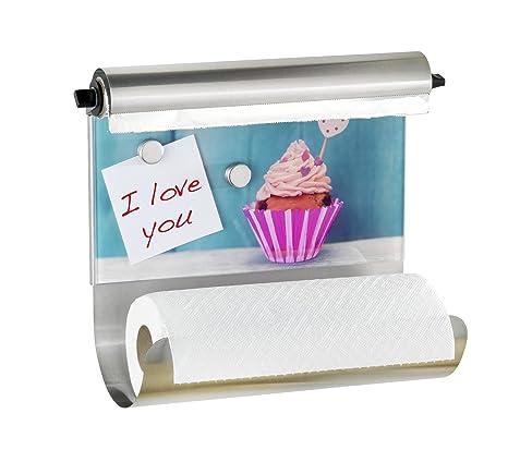 Wenko Portarrollos Magnético Cupcake, Vidrio Endurecido, 14.5x35x29 cm