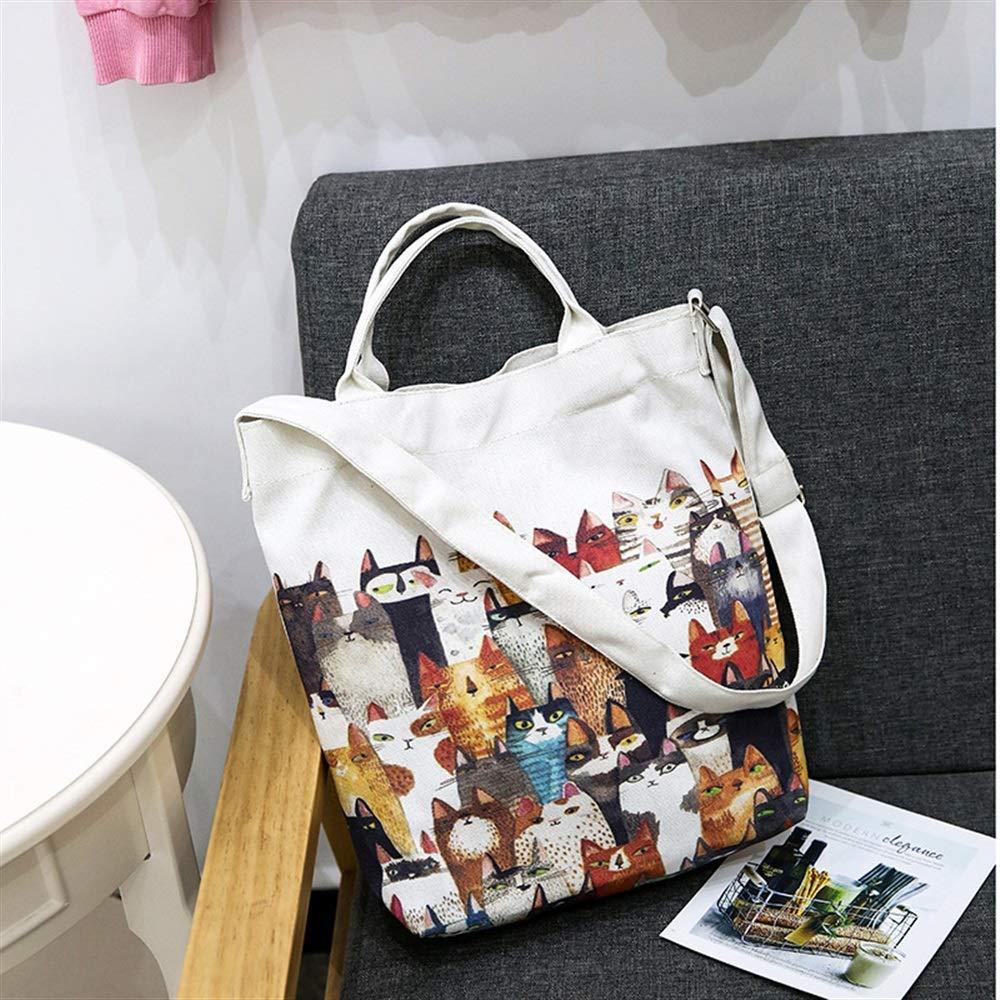 WHXYAA Cartoon Cats Large Capacity Ladies Canvas Handbag Shoulder Shopping Bag White Simple Atmosphere