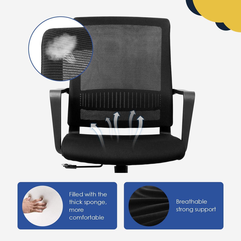 Dossier Inclinable Fauteuil en Maille Capacit/é Maximale de 110 kg Noir INTEY Chaise de Bureau Rotative Si/ège Ergonomique avec Support Lombaire