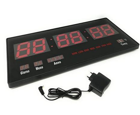 Tiempo Reloj Digital LED de Pared con Fecha y Termostato Slim Fecha Temperatura
