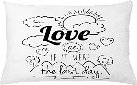 Ambesonne Inspirational Throw Pillow Cushion Cover Encouraging Words Design Optimistic Philosophy Life Message Decorative Rectangle Accent Pillow Case 26 X 16 Black And White Home Kitchen
