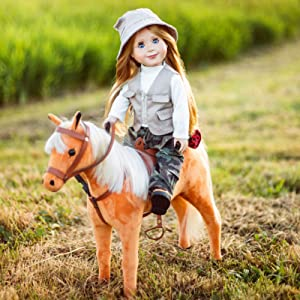 The Queen's Treasures American Chestnut Pony with Saddle, Reigns, and Even a Saddle Blanket. Compatible with American Girl Dolls, 18 Inch Doll Furniture and Accessories