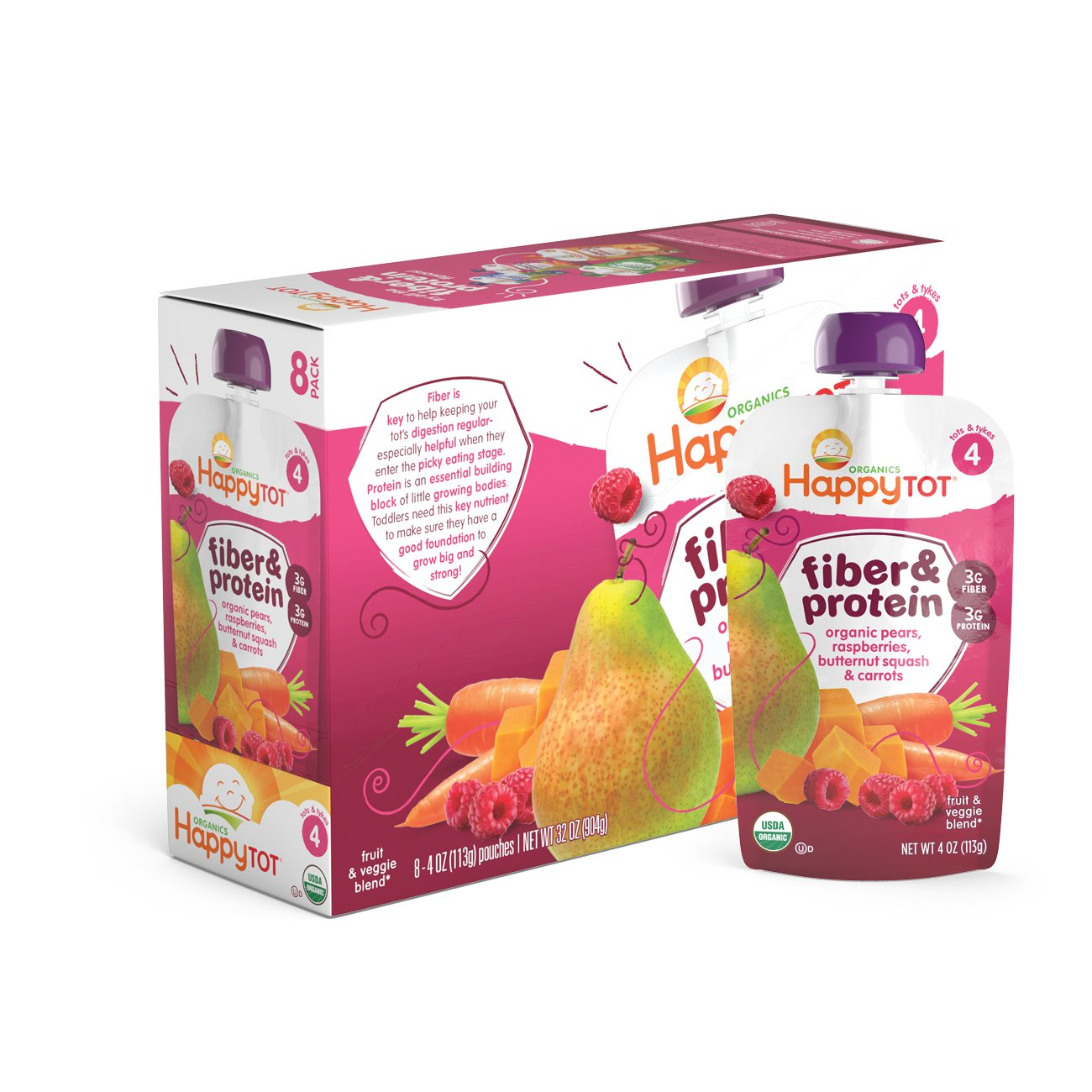 Happy Tot Organic Stage 4 Fiber & Protein, Pears, Raspberries, Butternut Squash & Carrots, 4 Ounce (Pack of 8)