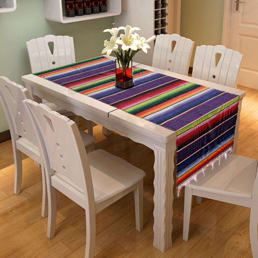 Fringe Cotton Blanket Table Runner Mexican Serape Table Runner 14 x 84 inch for Mexican Party Wedding Decorations