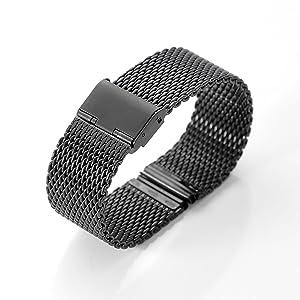 XINGDONGCHI 22mm Stainless Steel Strap Metal Band for Motorola Moto 360 Smartwatch and Lg G Watch R W100 W110, Urbane, Pebble, Samsung Gear 2 Neo ( Milanese Mesh/Black)