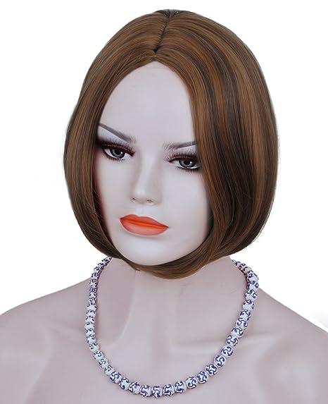 Mujer Marrón Oscuro Pelucas Natural de alta calidad resistente al calor Corto Recto Bob estilo peluca