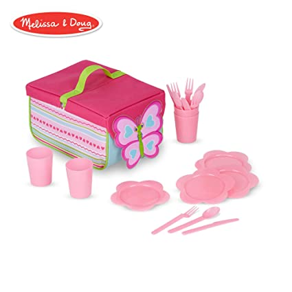 Melissa & Doug Sunny Patch Cutie Pie Butterfly Picnic Set With Basket, Plates, and Utensils best picnic baskets