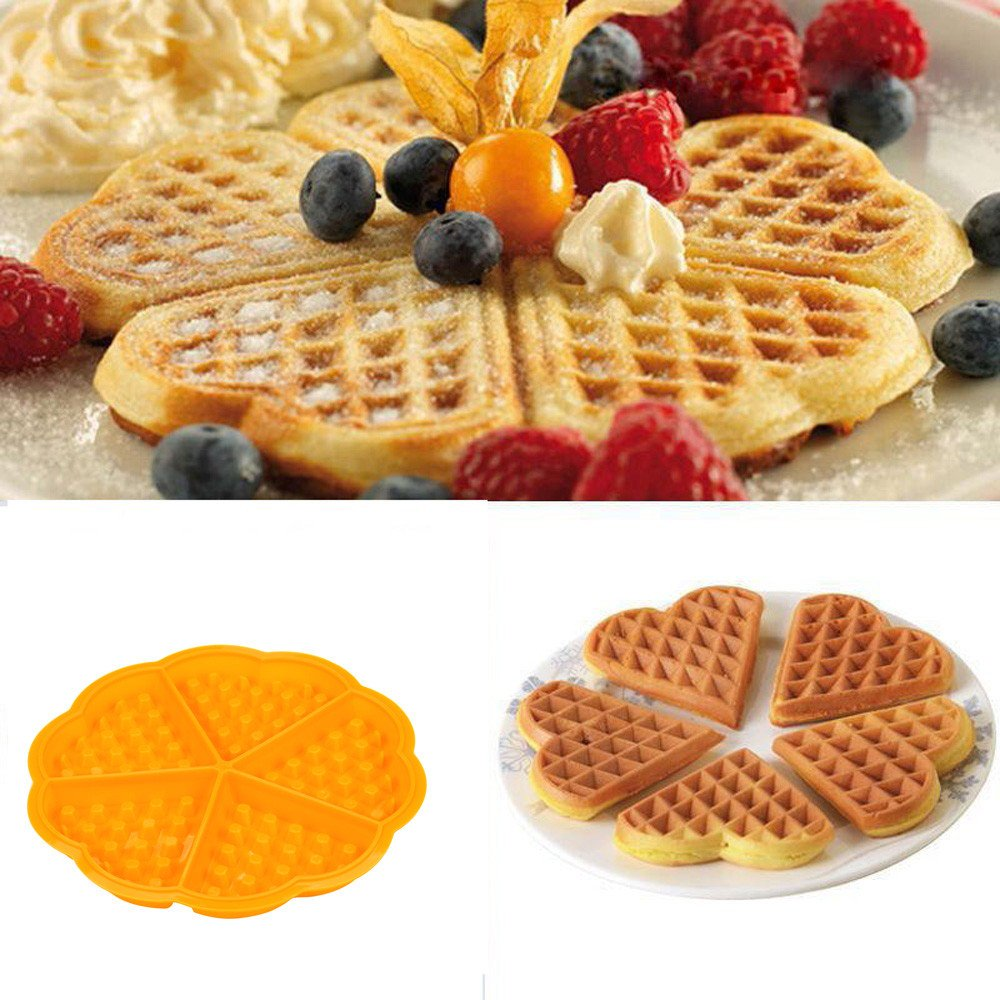 5 Heart-Shaped Waffles, Cake, Pan Silicone Mold, Non Stick by BeauyShe