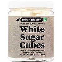 Urban Platter European Style White Sugar Cubes, 700g / 25oz [Half Teaspoon Sized Cubes, Rough Cut, Approx 200 Cubes]