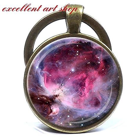 Llavero, diseño de nebulosa de Orión rosa fuschia lavanda ...