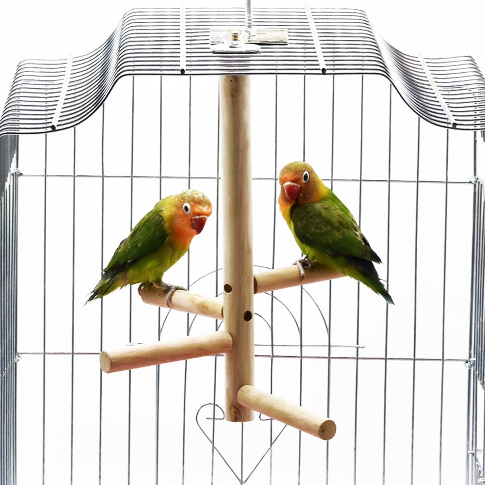 Bonaweite Bird Stand for Cage Parrot Perch Climbing Tree Toy Birdcage Decor Wood Laddered Platform Play Gym Stand Playstand Exercise Training Toysfor Small Medium Conures Cockatiels Parrotlets Finch