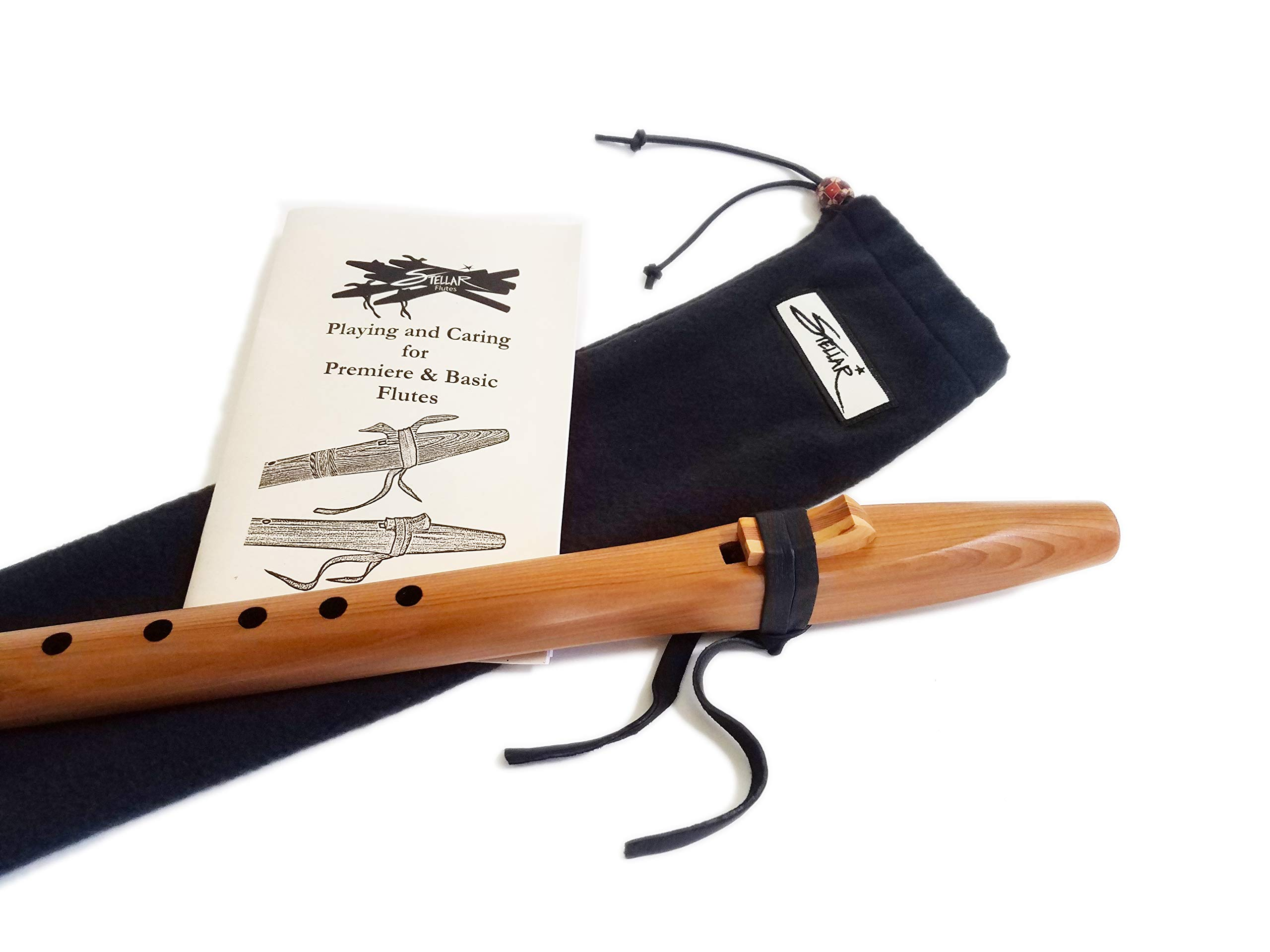 Stellar Basic Flute Key of A - Native American Style Flute with Carrying Case (Natural Heartwood Cedar)