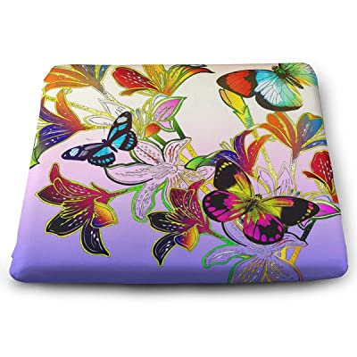 Sanghing Floral Arrangement with Detail Colorful Mosaic Butterflies Around Stems 1.18 X 15 X 13.7 in Cushion, Suitable for Home Office Dining Chair Cushion, Indoor and Outdoor Cushion.: Home & Kitchen