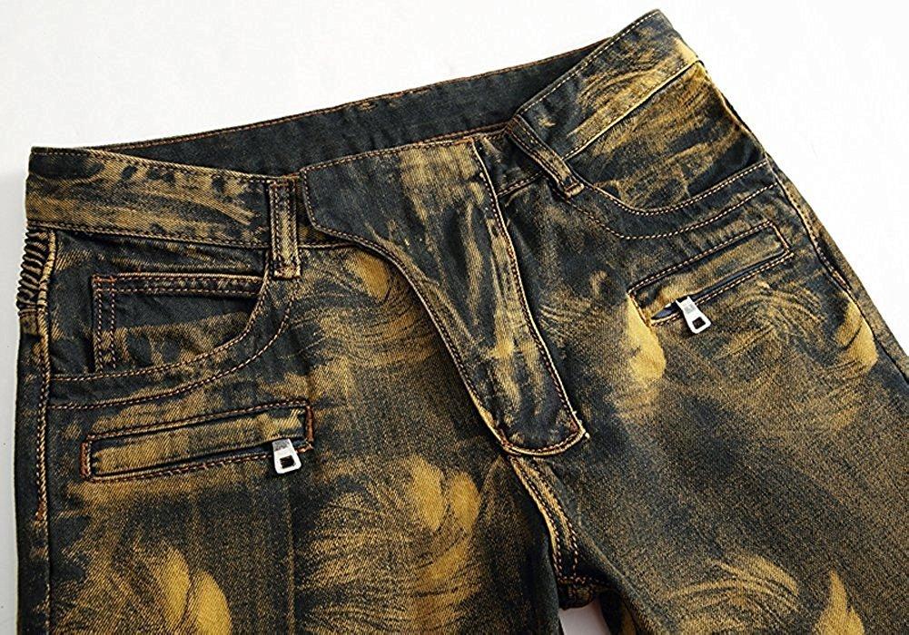 TOPING Fine Fashion;Handsome Men's Golden Vintage Slim Fit Biker Jeans Runway Skinny Moto Jeans Pants by Toping Fine Pants (Image #2)