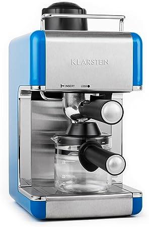 Klarstein Sagrada Azzuro Cafetera Espresso de Acero Inoxidable (800 W, 3,5 Bar, Acero Inoxidable, Para 4 Tazas, Desmontable, Incluye Jarra de Cristal) - Azul: Amazon.es: Hogar