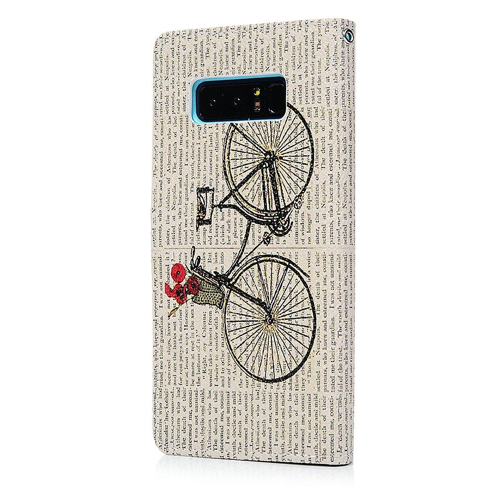 Funda para Samsung Galaxy Note 8, YOKIRIN suave cuaderno de piel sintética tipo libro con función de función atril tarjeta soporte ranura - Funda fina ...