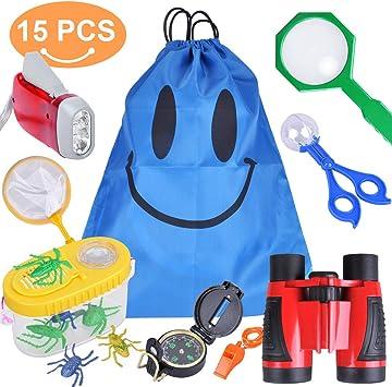 Kit de explorador para exteriores, 9 unidades de equipos de exploración para niños aventureros con prismáticos,