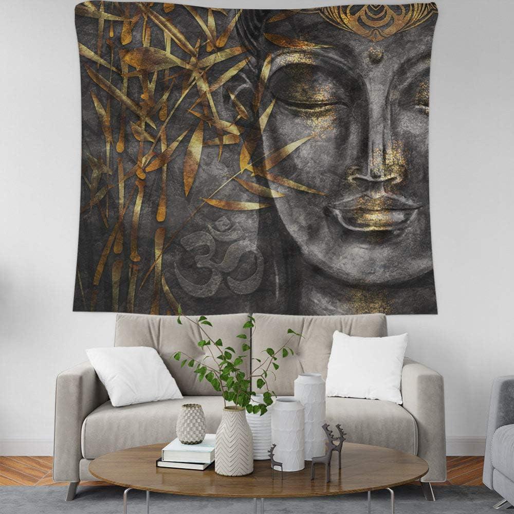 Grande Tessuto Rettangolare Art Decor per Soggiorno Camera da Letto,150/×130Cm Arazzo da Parete Vintage Indiano di Boemia Golden Bamboo Grigio Statua del Buddha di Tappezzeria da Parete