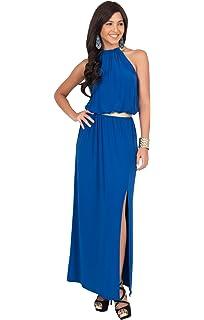 16607535710 KOH KOH Womens Long Halter Sleeveless Summer Slimming Party Gown Maxi Dress