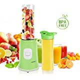 Aigostar Summer 30IWW - Mix and Go Personal sport con 2 bottiglie viaggio da 600ml, BPA FREE, 300W. Color Verde