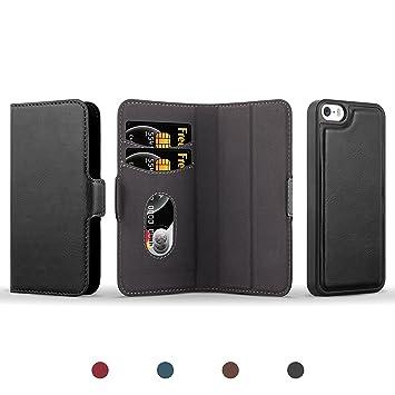 JAMMYLIZARD Funda De Piel para iPhone SE & iPhone 5/5s | Cover Magnética Separable 2 en 1 Tipo Cartera y Carcasa Trasera Wallet Case Trajetero, Negro