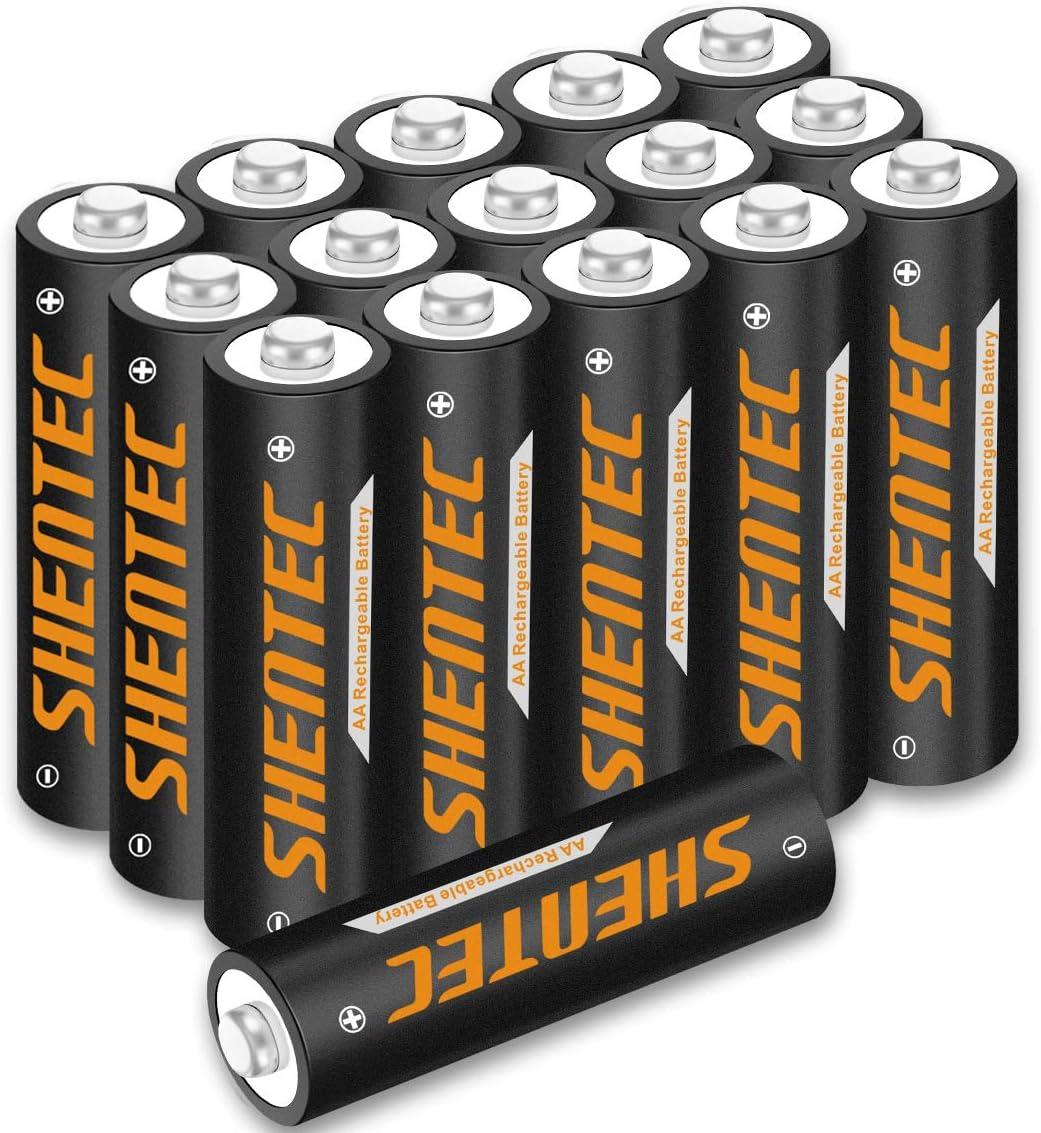 16 Stück Shentec Aa Akku 1 2v 2500mah Ni Mh Aa Wiederaufladbare Batterien Hohe Kapazität Aa Aufladbare Akkubatterien Geringe Selbstentladung Baumarkt