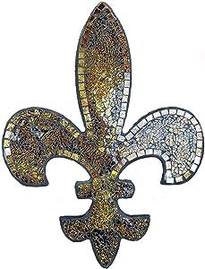Lulu Decor, Amber Mosaic Fleur De Lis Decor, Wall Decorative Plaque, Perfect for Housewarming Gift (Large 23.5