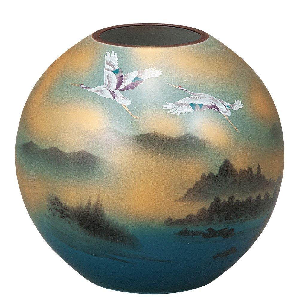 九谷焼 陶器 花瓶 鶴山水 AK5-1289 B071JYTB2R