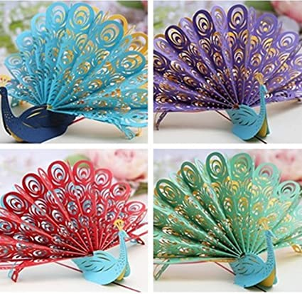 ASIBT Peacock 3D Pop Up Greeting Card Handmade Kirigami Origami Happy Birthday Wedding Anniversary Friendship